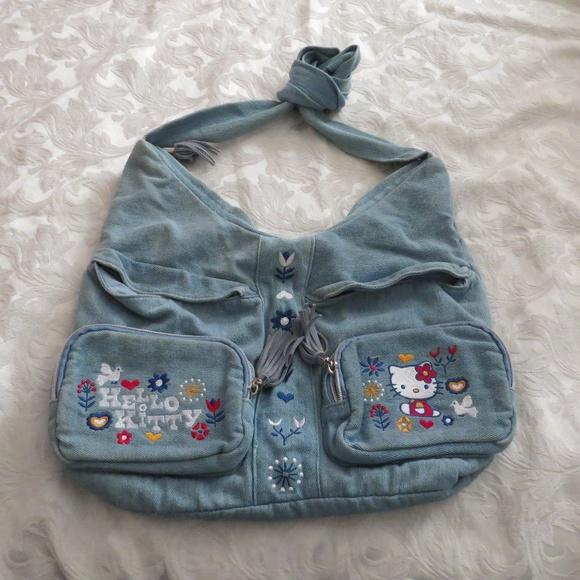 9e1a63077 Hello Kitty Handbags - Hello Kitty Denim Medium Hobo Purse Bag